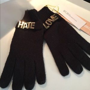 BCBGeneration. LOVE HATE GLOVES. BLACK/GOLD NWT